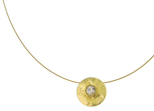 Simple Metal Disc with Large Center Crystal Necklace