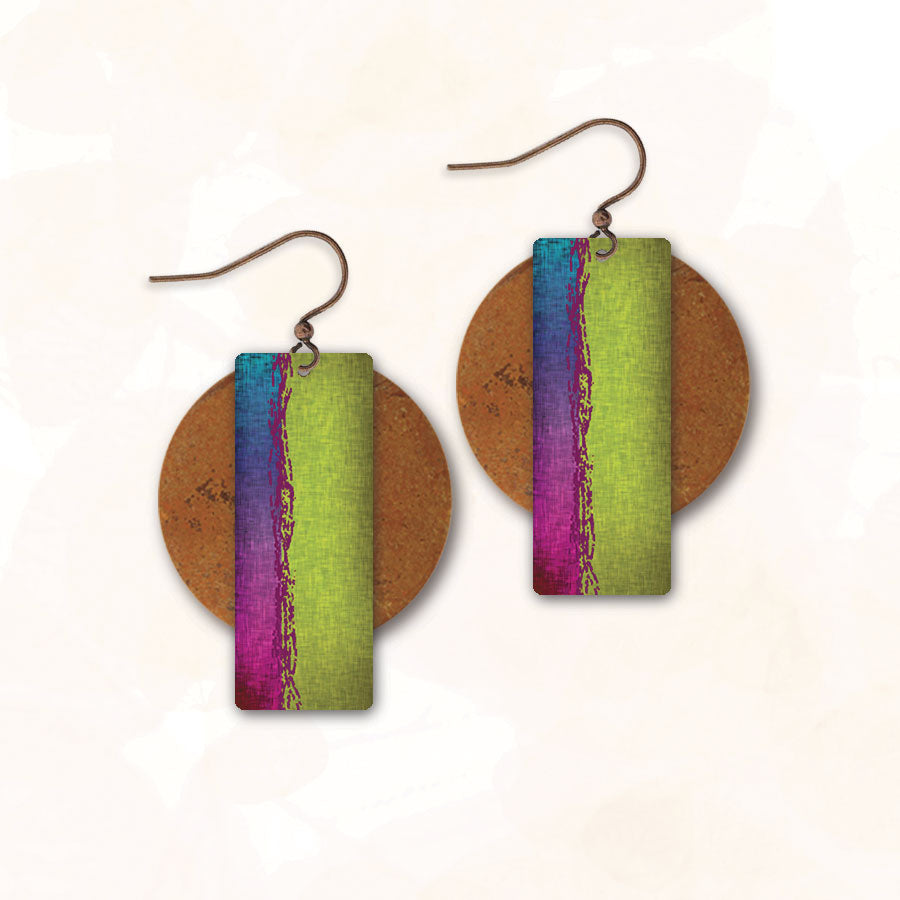 DC Designs - AE Collection - Green Rectangle/Circle Earrings