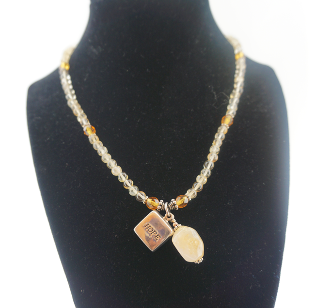 Citrine, Sterling Silver, & Hope Charm Necklace