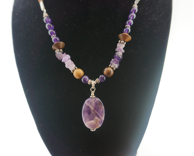 Amethyst w/ Wood Necklace on Suede