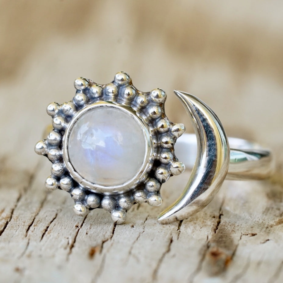 Moonstone Sun and Moon Bead Ring