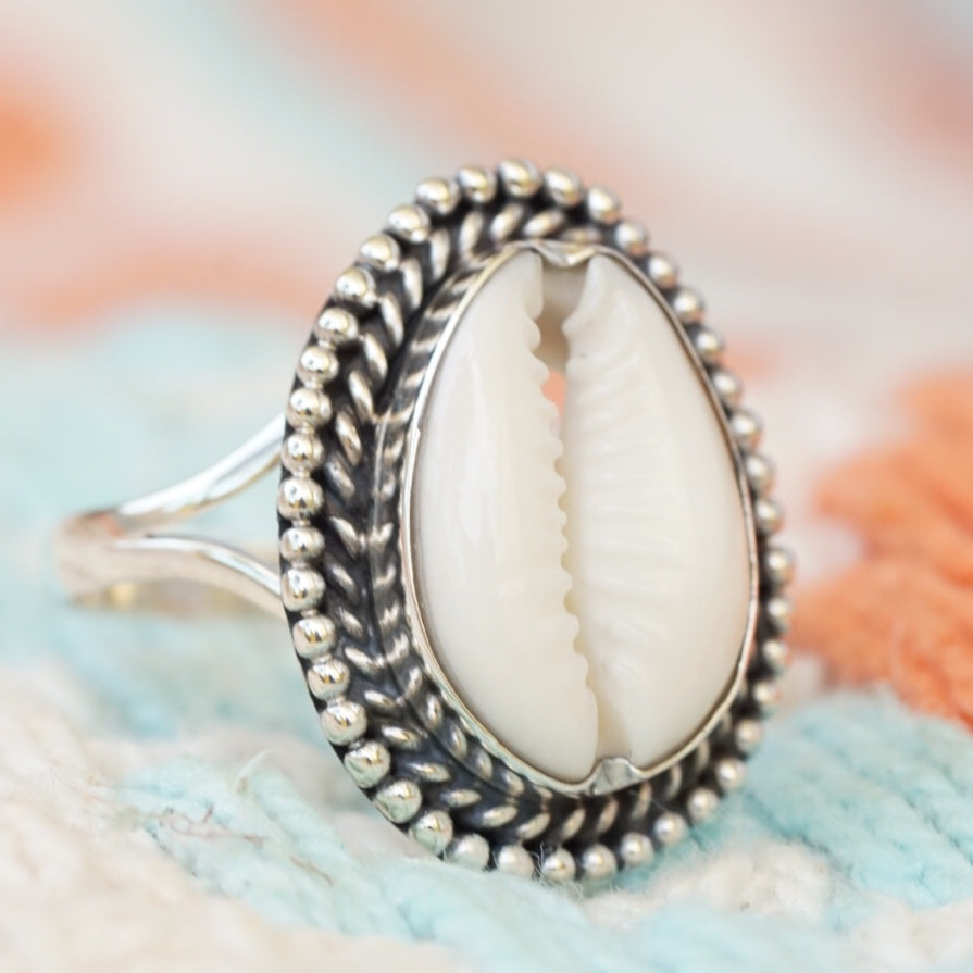 Cowrie Bead and Twist Ring