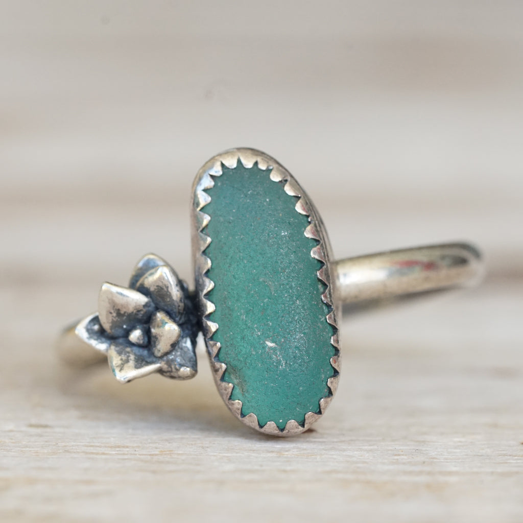 Teal sea glass and succulent ring 9