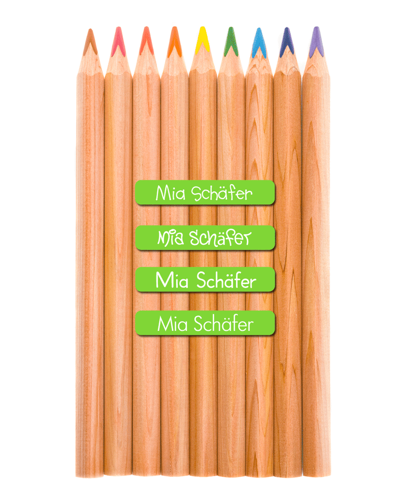 Wooden coloured pencils with mini name labels
