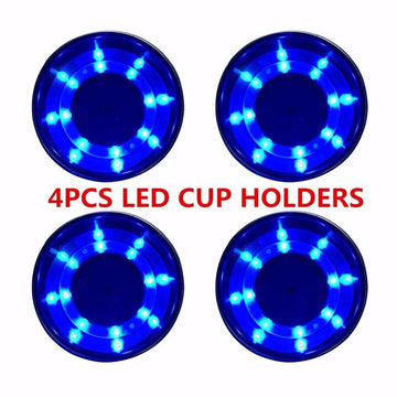 4 piece Marine Stainless Steel Cup/Drink Holder Blue LED