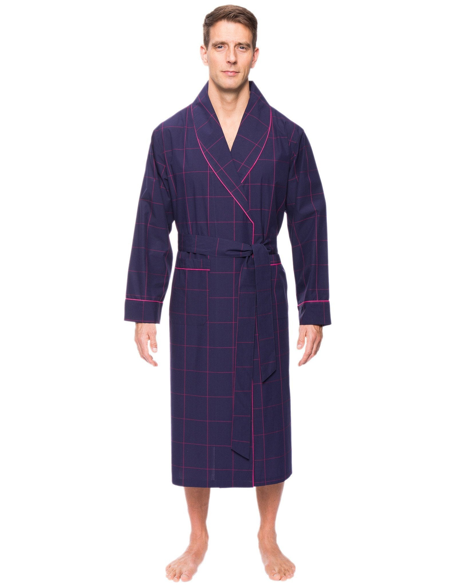 Mens Premium 100% Cotton Robe - Windowpane Checks Blue/Red