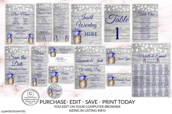 Midnight Blue Rustic Wedding Invitation Printable Country Wedding Invitation Digital file Printable Wedding invitation suite Online Cheap