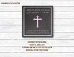 Baptism Favor Tags, Pink Baptism Favor Tag, Communion Favor Tags, Girl Baptism, Flower Favor, Baptism, First Communion, Favor Tags, INSTANT