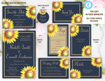 Sunflower Wedding Invitation Suite Template, Printable Template Editable Instant Download, DIY Wedding Invitation, Sunflower, Navy Blue