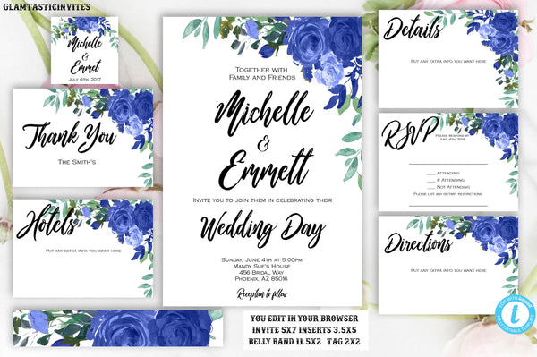 Floral Boho Blue Rose Wedding Invitation Package Set Template Flower Rose Editable Printable Instant Download Elegant, Rose Wedding Template