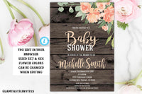 Rustic Floral Peach Boho Baby Shower Invitation Template Flower Editable Printable Country Vintage, Baby Shower Invitation, Gender Neutral