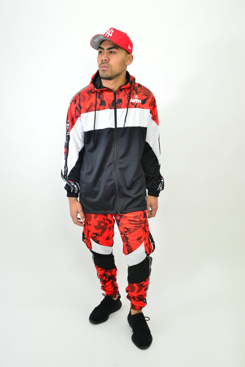 CARGO TRACK PANTS - RED CAMO