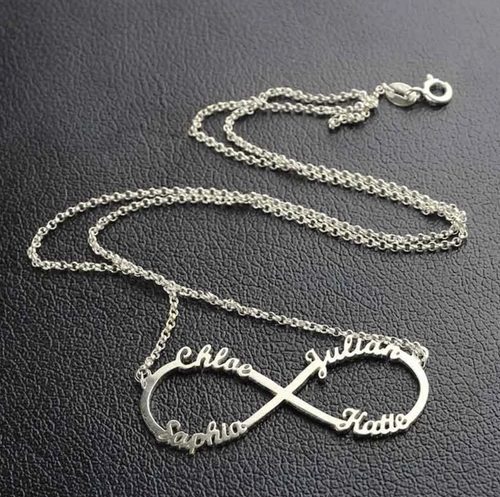 Infinity 3 Or 4 Name Sterling Silver  Necklace