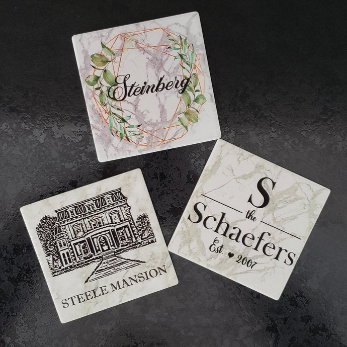Custom Coasters, Realtor gifts, Wedding gifts, Closing gifts, Housewarming gifts