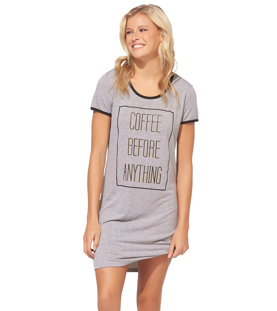 Rae Ringer Sleep Shirt in Coffee Before Anything