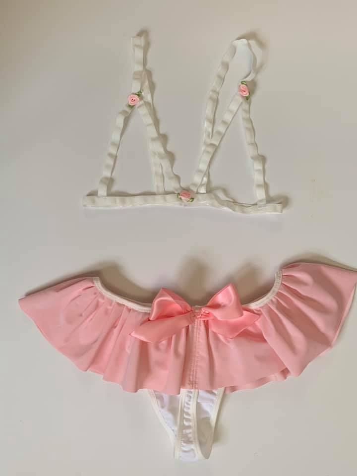 Lovely Rose White Harness Cage Bralette XS-3X