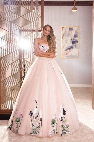 MOONLIGHT IN THE STREETS PINK EVENING DRESS