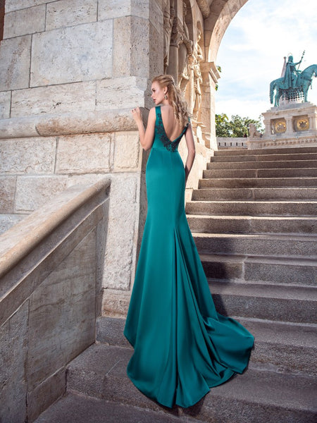 Bold & Gorgeous silk satin mermaid emerald evening dress