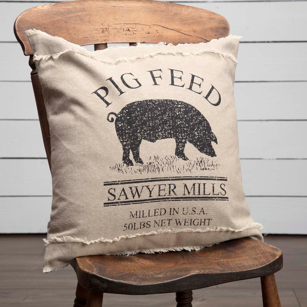 Sawyer Mill Pig Charcoal Pillow