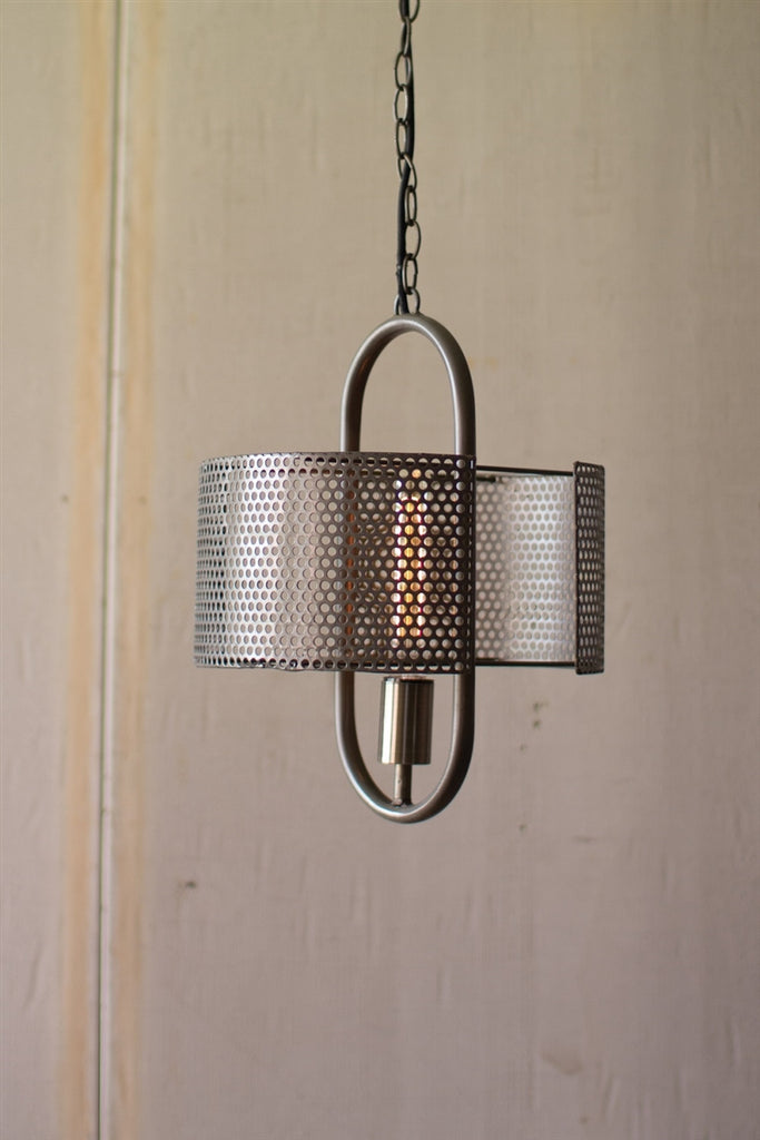 Pendant Lamp With Perforated Metal Shade
