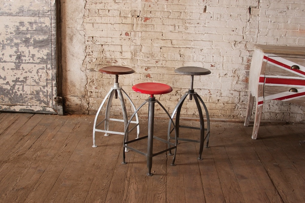 Metal Stool With Adjustable Rustic Top With Antique White Base