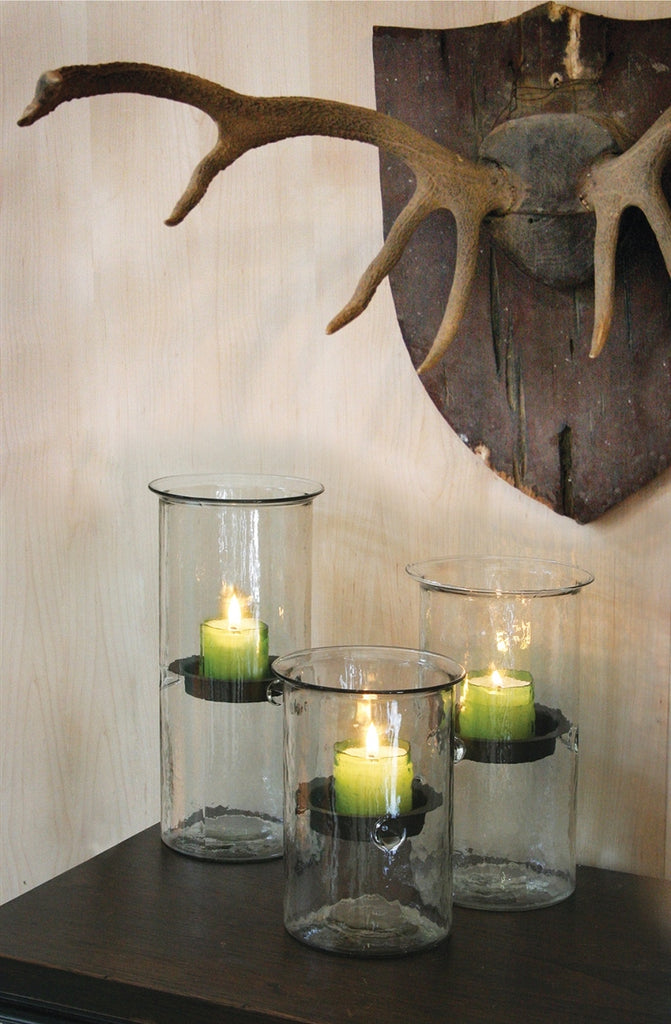 Mini Glass Candle Cylinder With Rustic Insert