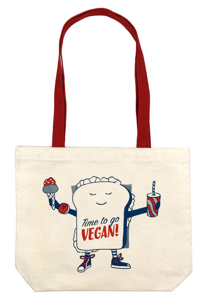 TIME TO GO VEGAN ORGANIC TOTE (Long Handles)