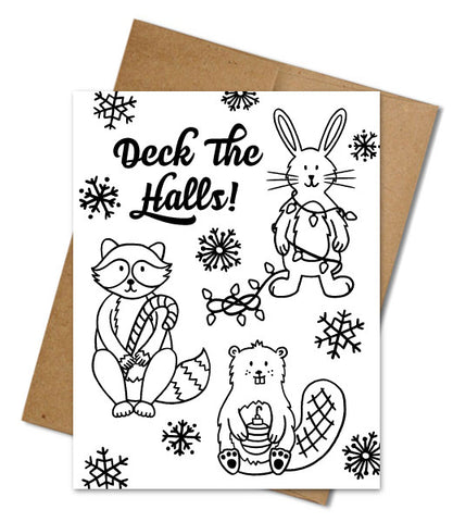 DECK THE HALLS COLORING CARD
