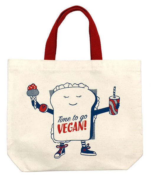 TIME TO GO VEGAN ORGANIC TOTE (Short Handles)