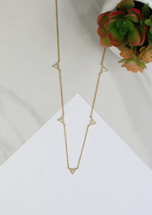 Jules Smith Elegant 14K Gold Plated Chain Necklace with Pave Triangles