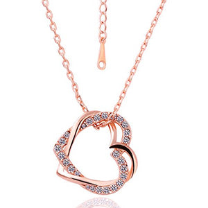 Addic Embracing Hearts-in-Love Rose Gold Plated Austrian Crystal Pendant for Girls for Girls and Women.