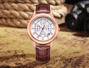 Megir Crown Prince Rose Gold Brown Luxury Chronometer Watch For Men & Boys
