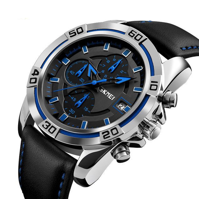 SKMEI Luxury Chronograph Blue Dial Men's Watch With Free Bracelet For Men & Boys