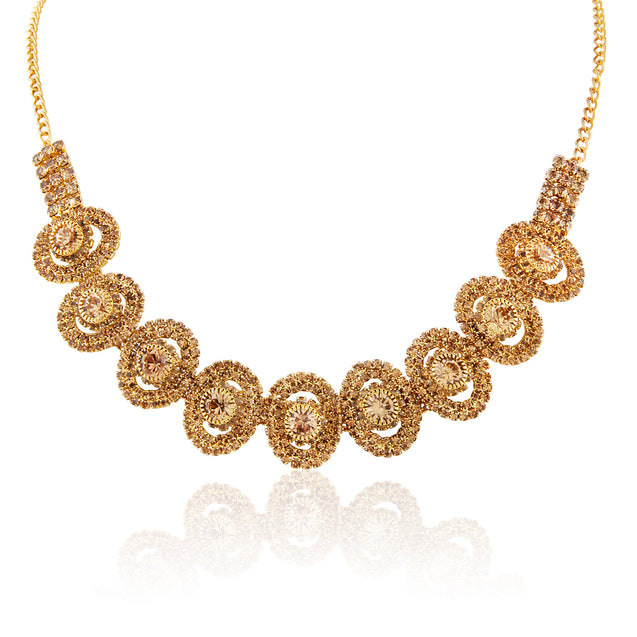French Loops Ethnic Gold Marigold Style Necklace Golden Earrings Traditional Indian Jewelry Set For Women and Girls