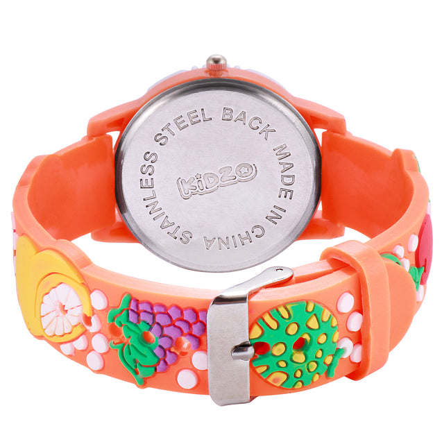 Kidzo Watermelon Gang Orange Kids Analog Wrist Watch With 3D Strap