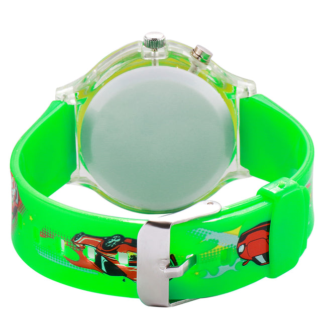 Kidzo Race Car Green Boys Analog Wrist Watch With Push Button Light