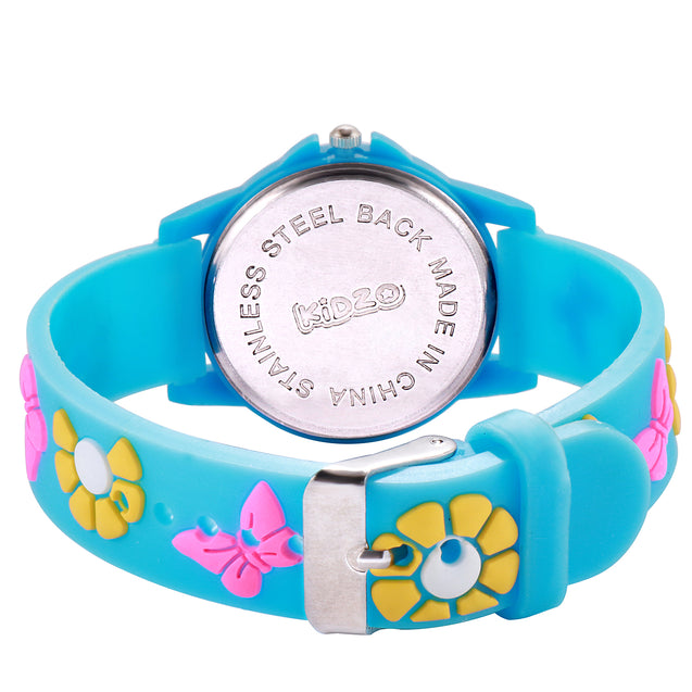 Kidzo Pretty Butterfly Sky Blue Analog Girls Wrist Watch With 3D Strap