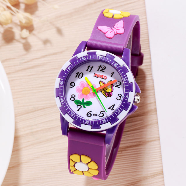 Kidzo Pretty Butterfly Purple Analog Girls Wrist Watch With 3D Strap