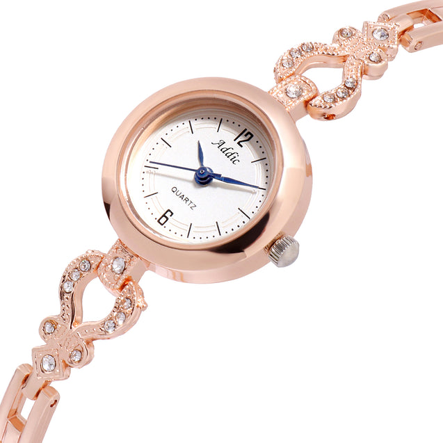 Addic Intricate Ethnic Studded Rose Gold Classic Indian Watch For Women & Girls