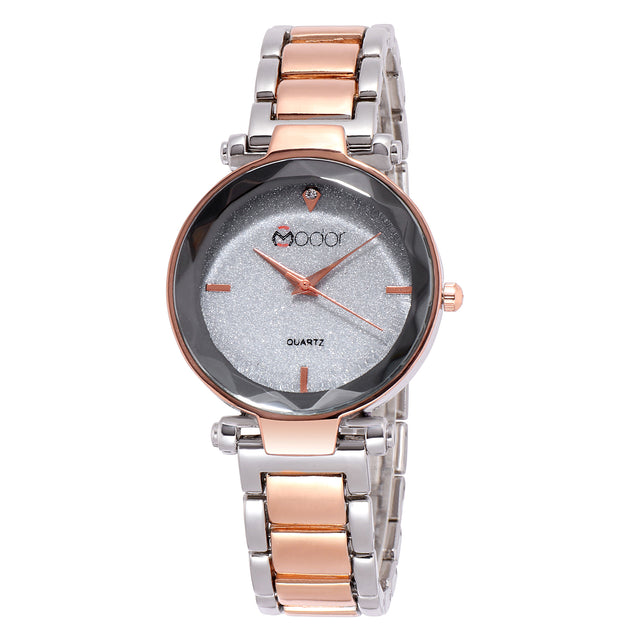 Modor Classy Crystal Dual Color Formal / Casual / Party Wear Multi Purpose Wrist Watch For Women & Girls