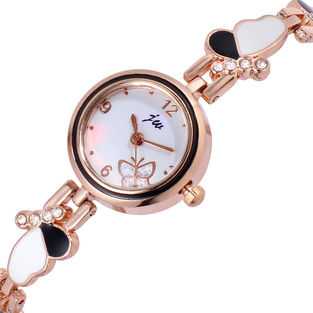 Addic Butterfly White & Black Watch For Women & Girls