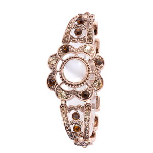 French Loops White Stone Gold Crystal Traditional Ethnic Stone Bracelet For Women & Girls
