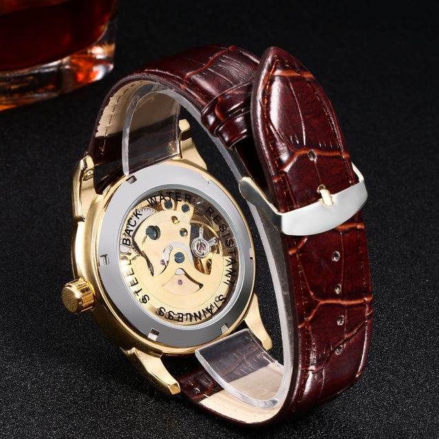 Winner Privilege Luxury Mechanical Gold Watch for Men! (Without Battery for Life!)