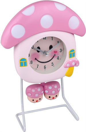 Addic Smiling Mushroom Happy Vibes Pink Table Clock  (Alarm Clock For Bedside, Study Table, Home Decor & Gifts)
