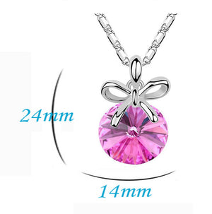 Addic Pink Austrian Crystal Pendant Valentine Gift for Girls and Women.