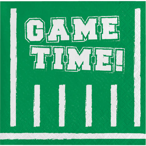 "Football Party2 Ply ""Game Time"" Printed Beverage Napkin, Case of 192"