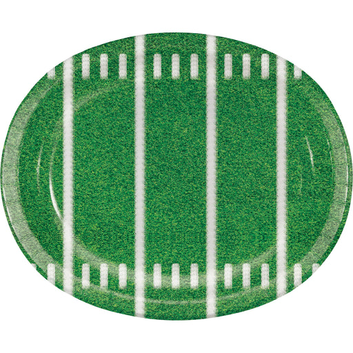 "Football Party 10""L x 12""W Oval Paper Platter, Case of 96"