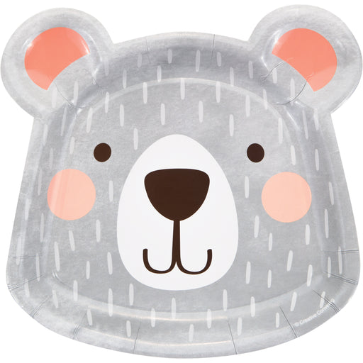 "1st Birthday Bear 8 1/5""L X 8 1/4""W Shaped Dinner Plates, Case of 96"