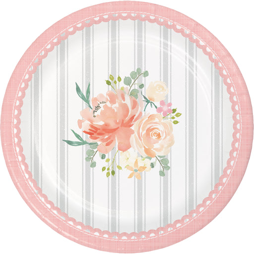 "Farmhouse Floral 6 7/8"" Dia. Paper Luncheon Plates"