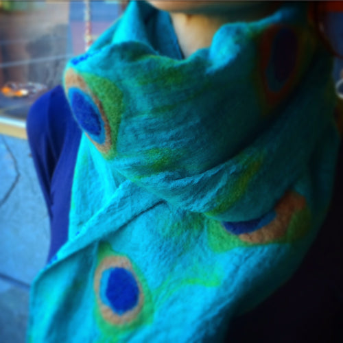 Turquoise Peacock Scarf